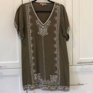 Calypso Olive Green Embellished Tunic Dress